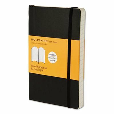 "Moleskine Classic Ruled Pocket Notebook, Black softcover 3.5"" x 5.5"""