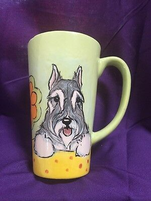 Schnauzer  Latte Cup Hand Painted Kiln Fired By Darci