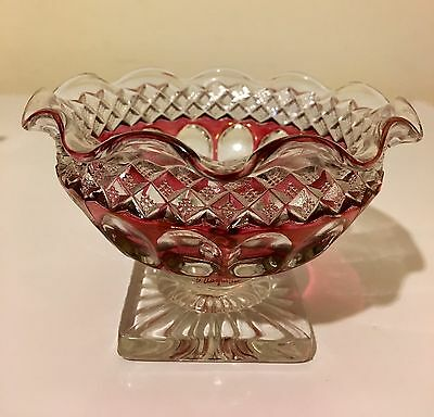 Vintage Westmoreland Waterford  Red Stain Thumbprint Pedestal Candy Nut Dish