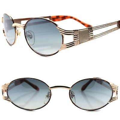 Old stock True Vintage 80s 90s Urban Indie Hip Swag Fashion Gold Oval Sunglasses