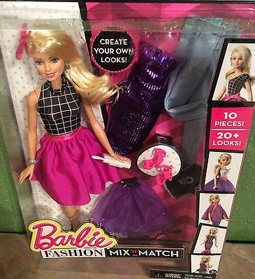 Barbie FASHION Mix 'N Match Blonde Barbie Doll & Outfits 10 Pieces 20+ Looks NEW