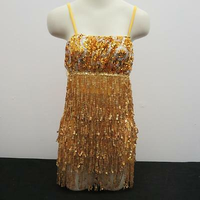 Dance Costume XL Child Gold Sequin Fringe Jazz Tap Flapper Solo Competition