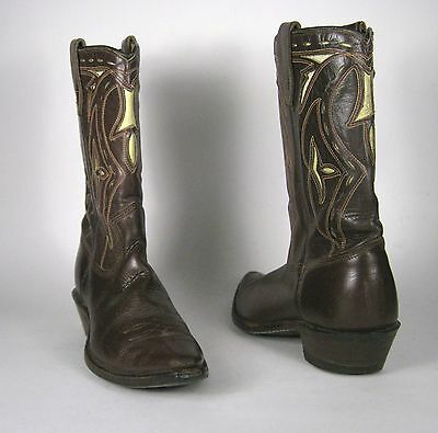 Biltrite Boots Size 4.5 or 5 US Cowboy Western Brown Inlay Leather