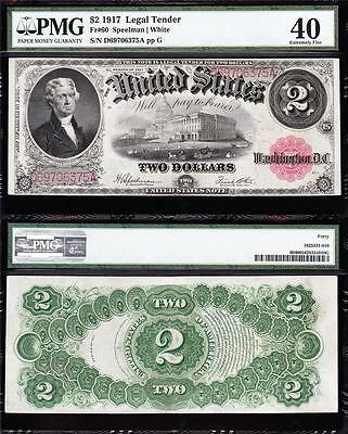 """Awesome HIGH GRADE $2 1917 """"BRACELET"""" US Note! PMG 40! FREE SHIPPING! D69706375A"""