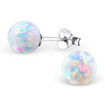 Sterling Silver White Round Opal Stud Earrings - Gift Boxed - NEW