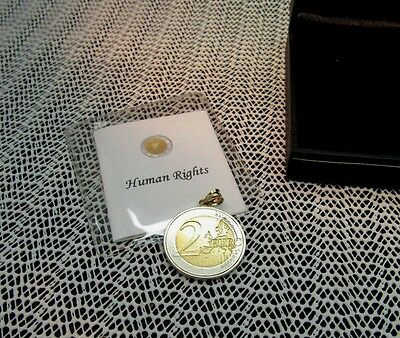 Human Rights 2008 Authentic Finland Coin Pendant Authenticity Gift Box 2 Euro
