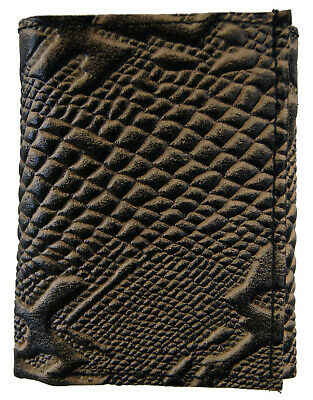 Trifold Ostrich Embossed Credit Card ID Leather Black Men's Wallet Brand New