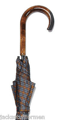 Harvy Tartans Scorched Maple Wood Crook Handle Grey Plaid Unisex Umbrella