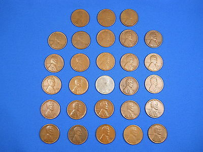 """Lincoln Wheat Cent Penny San Fran """"S"""" Mint Set 1916S-1955S Collection 28 Coins!"""