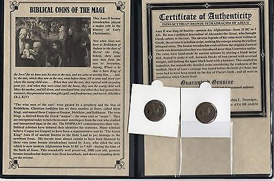1- Ancient Bronze Roman Bible Coins of the Magi Tetradrachm '3-Wisemen' COA