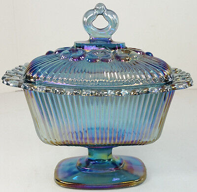 Indiana Carnival Glass Blue Iridescent Laced Covered Pedestal Candy Dish Compote