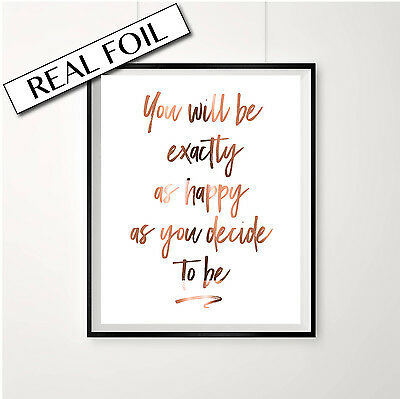 Happy Quote Print / Copper Foil Poster / Inspiring Quotes for life happiness art