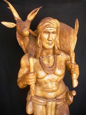 6.5 ft. ONE OF A KIND - HAND CARVED PHILIPPINE WARRIOR w DEER & FOX - MUST SELL