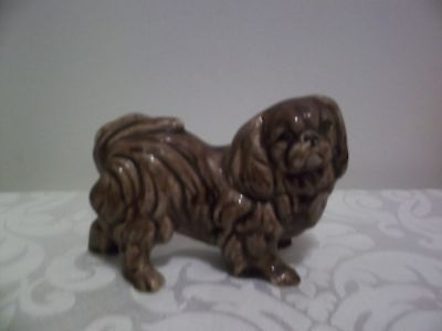 Vintage Brown Pekingese Dog FIGURINE - Pottery Ceramic