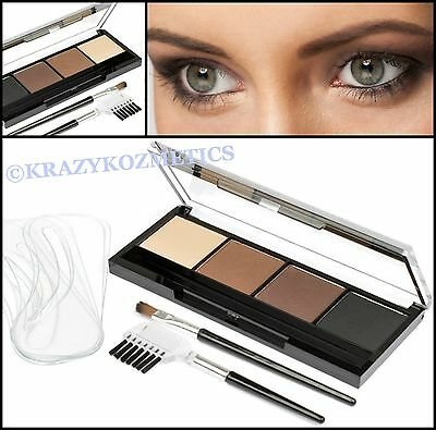 Yurily Perfect EYE BROW Kit - 4 Powders, 6 Shaped Stencils, Brush & Comb -