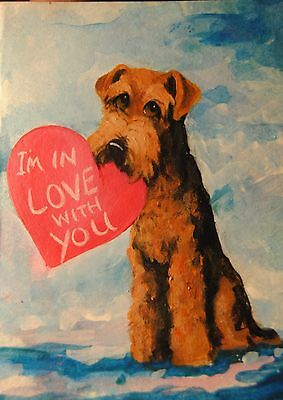 Original Painting~Airedale Terrier~Dog~Hand Painted~mini~Valentine~CARD~LOVE