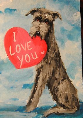 Original Painting~Irish Wolfhound~Dog~Hand Painted~mini~Valentine~CARD~I LOVE U