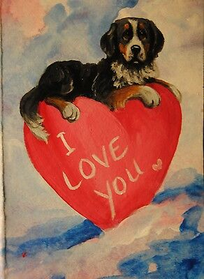 Original Painting~ACEO~Bernese Mountain Dog~Hand Painted~~Valentine~CARD~LOVE
