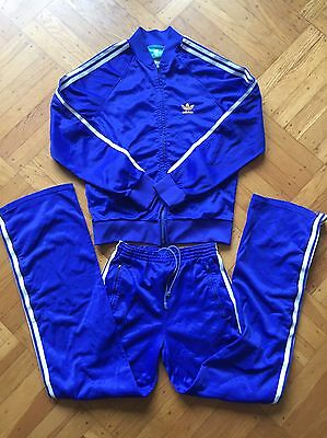 Vintage 1980's ATP Adidas Track Suit Size Youth Large 5'6 Blue Yellow White