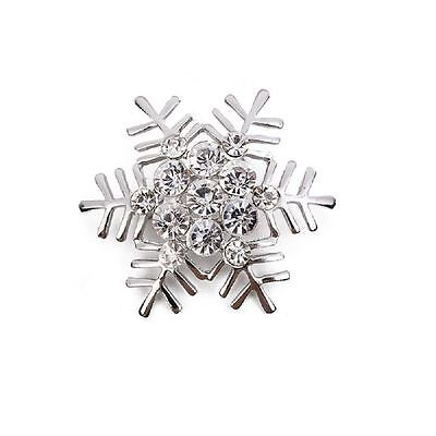 Gold/Silver Crystal Rhinestone Snowflake Christmas Brooch Pin Snow Icicle A