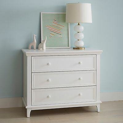 3 Drawer White Transitional Dresser Bedroom Clothes Organizer Wood Girls Chest
