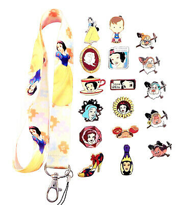 Snow White Themed Starter Lanyard Set w/ 5 Disney Park Trading Pins ~ Brand NEW
