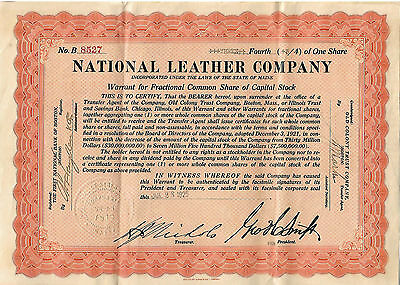 National Leather Co. Maine Warrant for Stock 1925