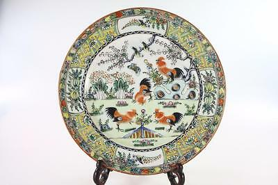 CHINESE ANTIQUE 1920's HANDPAINTED FAMILLE ROSE CHICKEN FINE BONE PLATE