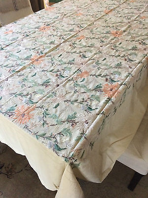 """1920s Linen Handmade Embroidered Silk Tablecloth Floral 110"""" x 82"""" Large Vintage"""