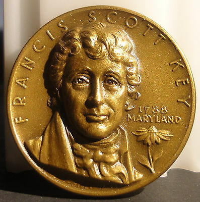1965 Francis Scott Key Maryland Statehood Art Medal By Medallic Art Co.~UNC