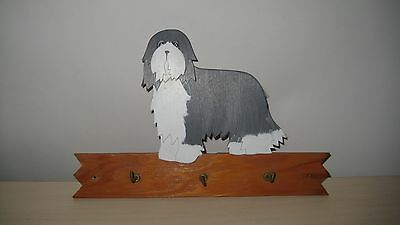 Bearded collie 1980s Hand Painted  Wood Plaque with Key Hooks By Diane Hartjes