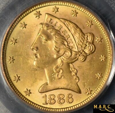 1886-S MS63 PCGS 5$ Gold Liberty Half Eagle, Old Green Holder, CAC approved!!