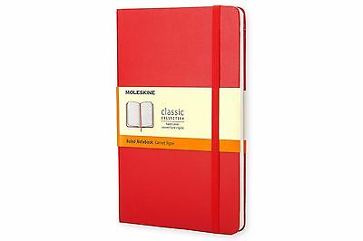 "Moleskine Classic Ruled Pocket Notebook, Red Hardcover 3.5"" x 5.5"""