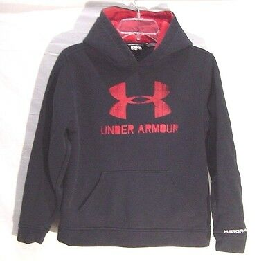 Boys Under Armour Hoodie Storm Sweatshirt BLACK & RED Size Youth Large