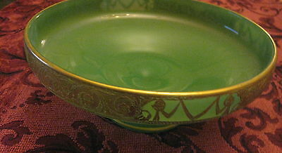 """Green Glass pedestal compote dish with gold gilt edge design 7-1/2"""" dia. 3"""" tall"""
