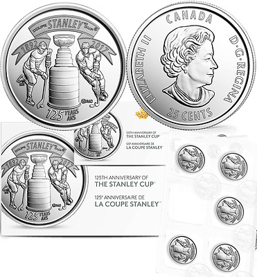 1892-2017 5 Canada 25-cent Quarters Coins 125th Anniversary Stanley Cup 5 Pack