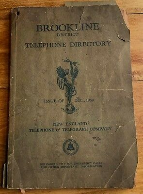 Rare 1939 Brookline District Telephone Directory New England Tel & Telegraph Co.