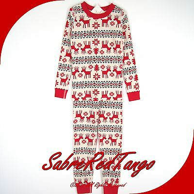 Nwt Hanna Andersson Organic Long Johns Pajamas Dear Deer Fair Isle Print 120 6 7
