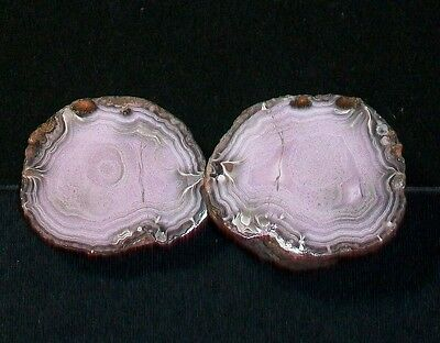 Ocl - Beautiful Mexican Parcelas  Agate Pair - Polished Specimens - .56 Pounds