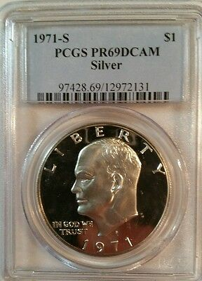 1971 S Eisenhower IKE PCGS PR 69 DCAM CAMEO SILVER Dollar Proof Coin