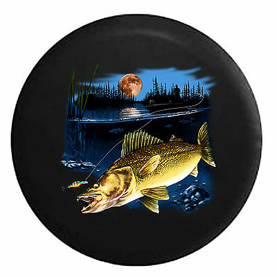 Spare Tire Cover Walleye Fish Lake Fishing Lure Night for SUV or RV
