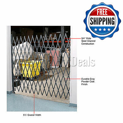 Folding Security Gate 5-1/2'W x 5'H Single Expandable Basement Steel Fence Door