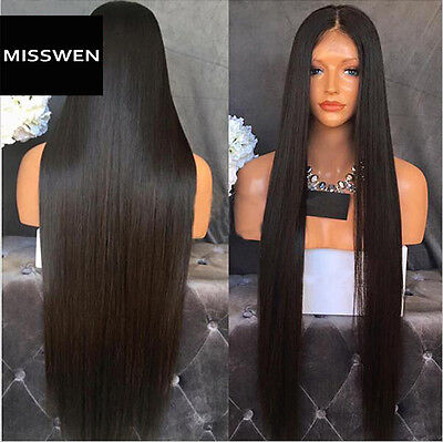"""24"""" Silky Straight Natural Black Lace Front Wig Heat Resistant Synthetic Hair"""