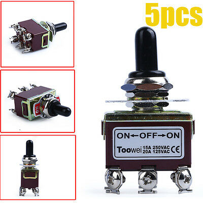 5-Pack Heavy Duty 20A 125V DPDT 6 Terminal On/Off/On Toggle Switch with Boot US