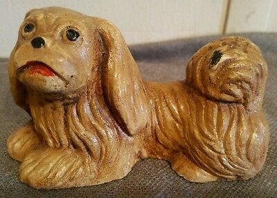Old Plaster Figurine Pekingese Dog