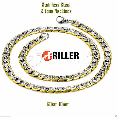 Men's 316L Stainless Steel Curb Link Mens Chain Necklace Silver Gold Two Tone
