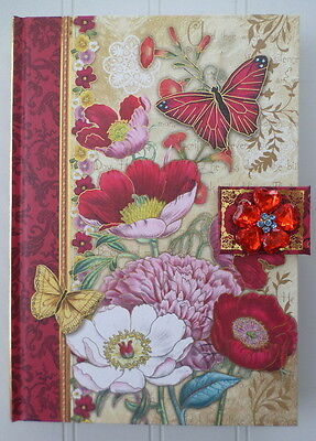 Punch Studio ~ Red & Pink Floral Butterfly Journal w/Magnetic Brooch Clasp 93588