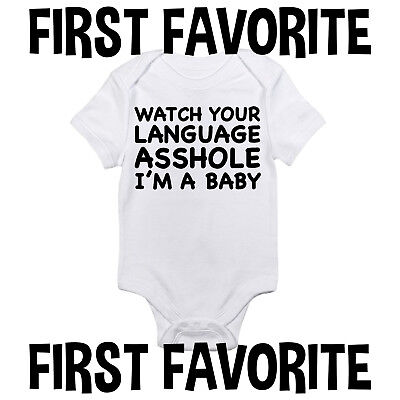 Watch Your Language Baby Onesie Bodysuit Shirt Infant Shower Gift Funny Gerber