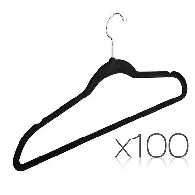 Set of 100x Coat Hangers Flock Velvet Nonslip Coat Clothes Closet Slim Thin