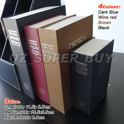 Dictionary Cash Money box Locker Book Secret Hidden Security Safe Key Lock